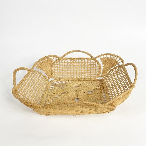 Woven Wicker Rattan Basket Bowl MCM Farmhouse Tan